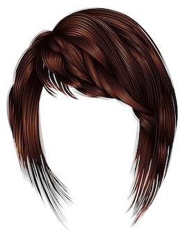 Modne włosy kobiety. kolor ciemnobrązowy. styl urody. realistyczne.