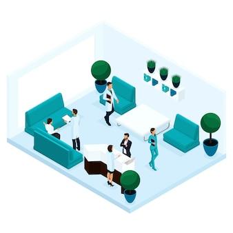 Modni ludzie izometryczni, widok z tyłu korytarza szpitala, recepcja, dyskusja lekarza z pacjentem, chirurg, personel medyczny, pielęgniarka