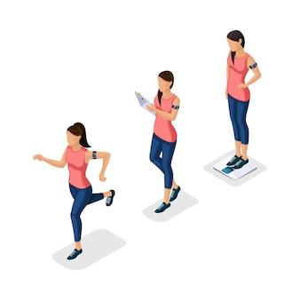 Modni ludzie izometryczny, sportowiec, młoda dziewczyna, zdrowy styl życia, fitness, sport bieganie na białym tle