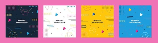 Modny abstrakcyjny geometryczny kwadratowy szablon memphis z kolorową koncepcją.