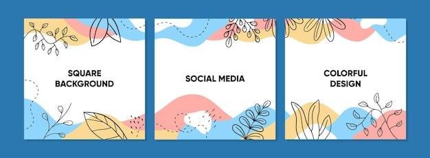 Modny abstrakcyjny kwadratowy szablon pos dla mediów społecznościowych z kolorową koncepcją