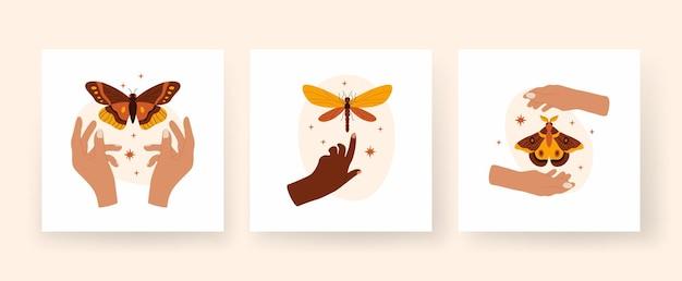 Modny abstrakcyjny kwadratowy zestaw sztuki boho ręce trzymają motyle i ważki
