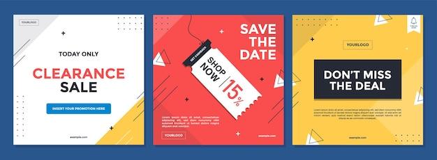 Modny abstrakcyjny plac do promocji sprzedaży z kolorową koncepcją.