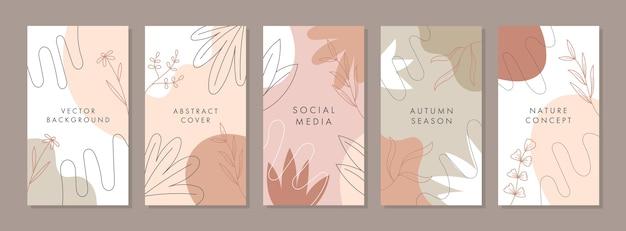 Modny abstrakcyjny uniwersalny szablon z koncepcją natury, do opowiadania w mediach społecznościowych