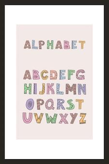 Modny alfabet skandynawski w wektorze. abc strony napis. nordic typograficzny projekt plakatu, banera, nadruku, dekoracji pokoju zabaw dla dzieci lub kartki z życzeniami. zestaw ładnych liter edukacyjnych.