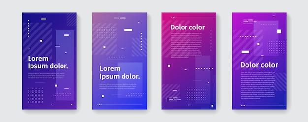 Modny futurystyczny szablon do opowiadań w sieciach społecznościowych. plakaty geometryczne wektor. gradientowe banery promocyjne do aplikacji.