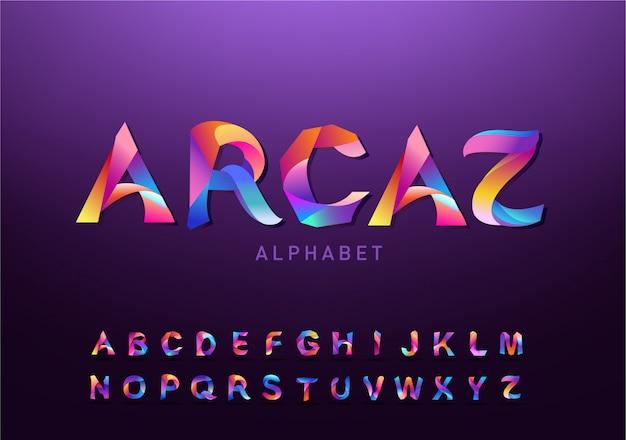 Modny futurystyczny zestaw liter. projekt szablonu gradientu czcionki