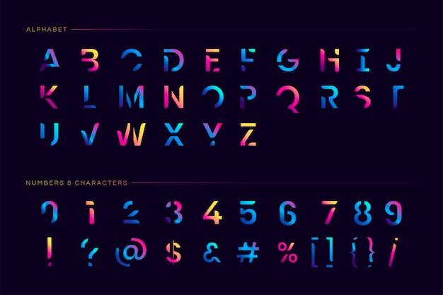 Modny futurystyczny zestaw liter