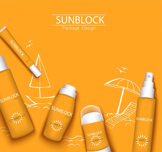 Modny ilustracja w jednym kolorze pomarańczowy, kosmetyki opakowania opakowania szablon projektu. krem przeciwsłoneczny i krem z filtrem, spray, mleko, antyperspirant