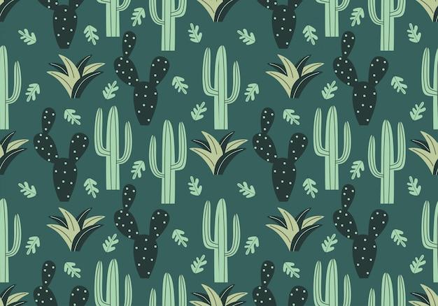 Modny kaktusowy wzór z kwiecistym stylem rysunkowym