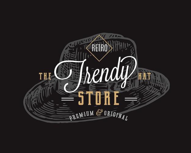 Modny kapelusz sklep retro typografia streszczenie