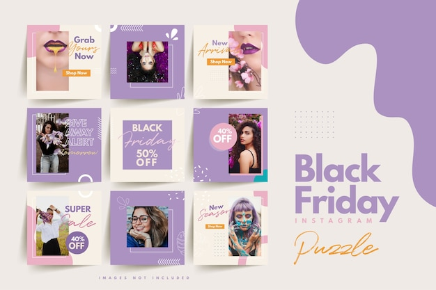 Modny kolorowy czarny piątek social media puzzle szablon