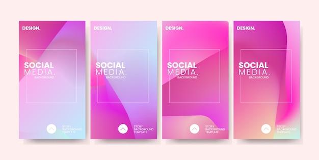 Modny kolorowy gradient na tle szablonu historii mediów społecznościowych