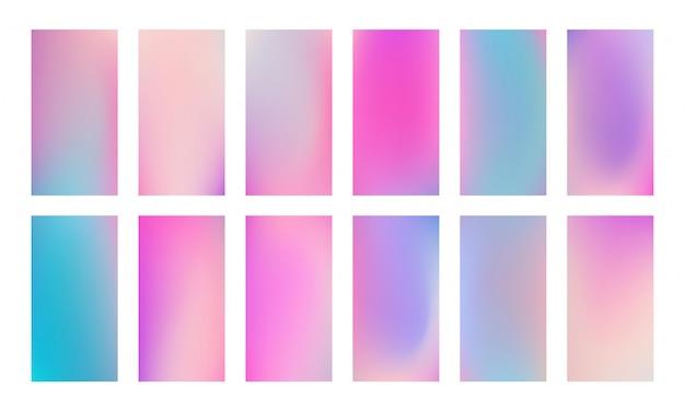 Modny kolorowy holograficzny szablon ekranu. zestaw miękkich płynnych gradientowych tła