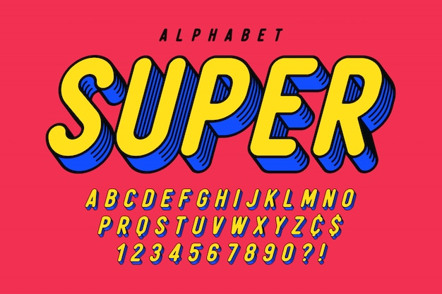 Modny komiczny projekt czcionki, kolorowy alfabet, krój pisma