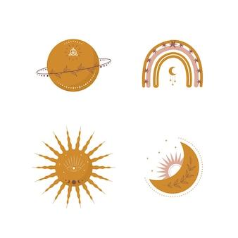 Modny księżyc, tęcza i słońce w stylu boho w żółtym kolorze.