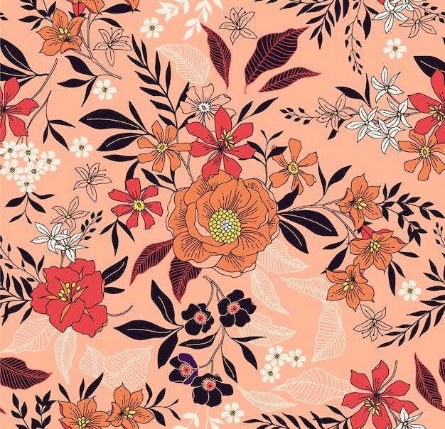 Modny kwiatowy wzór. bezproblemowy nadruk. motywy letnie i wiosenne. koralowe tło.
