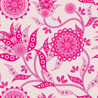 Modny kwiatowy wzór w fluorescencyjnym różowym tle