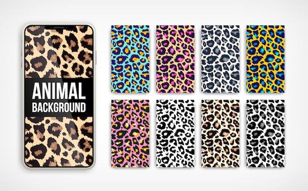 Modny lampart streszczenie tło pionowe zestaw. ręcznie rysowane modne tekstury kolorów dzikich zwierząt na ekranie smartfona na baner mediów społecznościowych, okładkę, tapetę telefonu. ilustracja