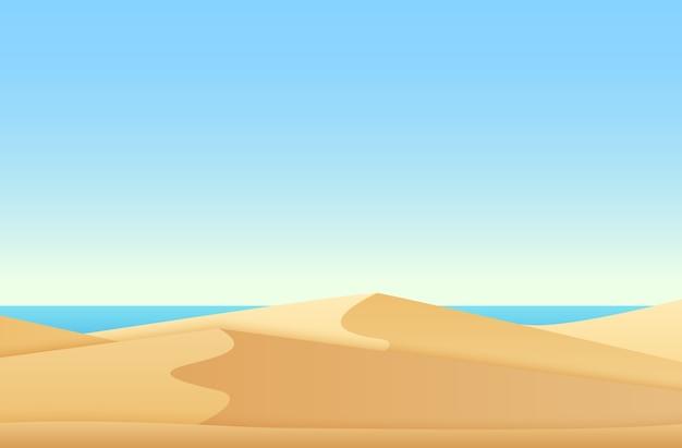 Modny miękki płaski gradientowy krajobraz z pustynną i oceaniczną plażą morską