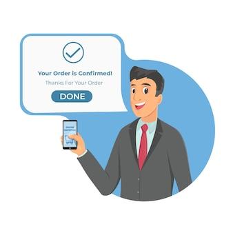 Modny młody biznesmen pokazuje pustą komórkę, telefon komórkowy i potwierdza zamówienie.