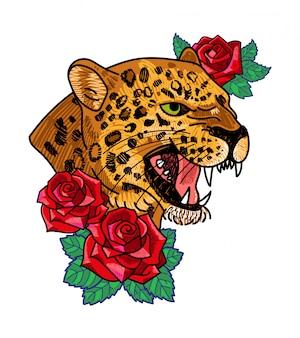 Modny nadruk na ubraniach t-shirt bomber bluza również na naklejce plakatu z haftem dzikie rozgniewane głowy lamparta z czerwonymi różami nowoczesna modna maskotka dla marki streetwear.