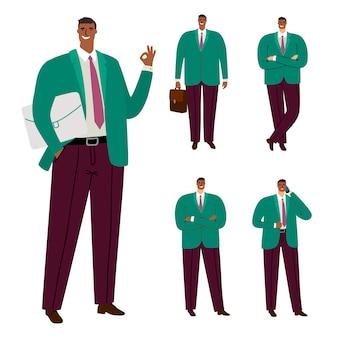 Modny nowoczesny afro amerykański biznesmen charakter