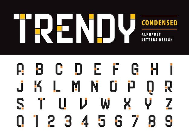 Modny nowoczesny alfabet litery i cyfry