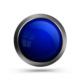 Modny okrągły niebieski przycisk ze szkła. pusty szablon przycisku dla sieci web, projektowania interfejsu i aplikacji.