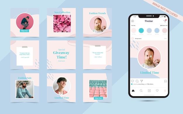 Modny pastelowy szablon promocji sprzedaży mody w mediach społecznościowych