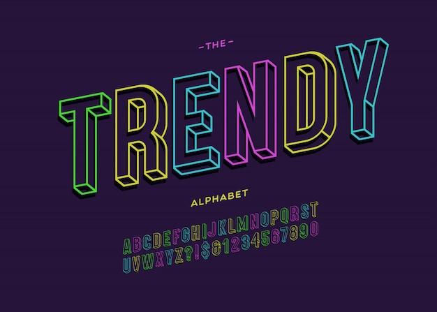 Modny pogrubiony krój pisma 3d typografia bez szeryfów