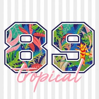 Modny Projekt Letniego Nadruku Z Tropikalną Rośliną I Kwiatem Wewnątrz Cyfry