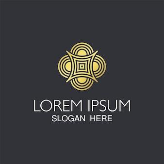 Modny projekt logo streszczenie złoty.