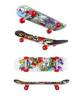 Modny realistyczny zestaw deskorolki z górną dolną boczną deską widokową na białym tle ilustracja na świeżym powietrzu na skateboardzie