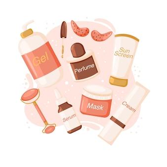 Modny ręcznie rysowane zestaw kosmetyków. koncepcja naturalnych produktów kosmetycznych do pielęgnacji skóry. żel, krem, maska, osłona przeciwsłoneczna, serum, perfumy, plastry, wałek.