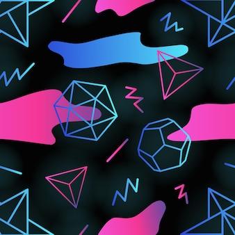 Modny retro futurystyczny wzór z konturami wielokątów, gradientowe kolorowe plamy i zygzakowate linie na czarnym tle. ilustracja wektorowa w stylu lat 90. na tapetę, tło.