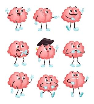 Modny śliczny mózg w różnych pozach płaski zestaw ilustracji.