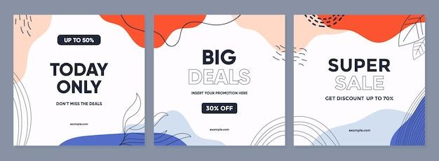Modny streszczenie kwadratowy szablon z kolorową koncepcją sprzedaży promocyjnej w poście w mediach społecznościowych