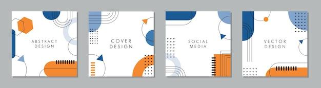 Modny streszczenie kwadratowy szablon z kolorową koncepcją.