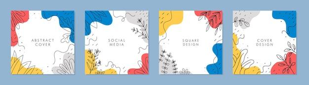 Modny streszczenie kwadratowy szablon z kolorowym pomysłem na post w mediach społecznościowych