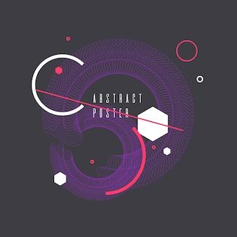 Modny streszczenie tło geometryczne z płaskim, minimalistycznym stylu memphis. plakat wektor z elementami do projektowania