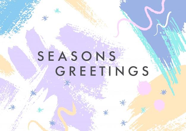 Modny świąteczny plakat z ręcznie rysowanymi kształtami i teksturami w delikatnych pastelowych kolorach.