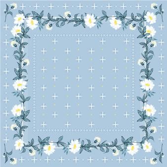 Modny, świeży kolor czeskiego kwitnących kwiatów szalika w stylu chustka bez szwu.