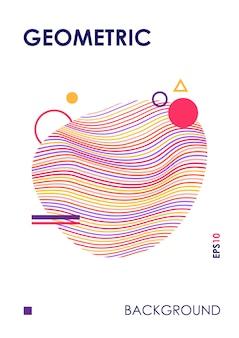 Modny szablon okładki z abstrakcyjnym kształcie linii.