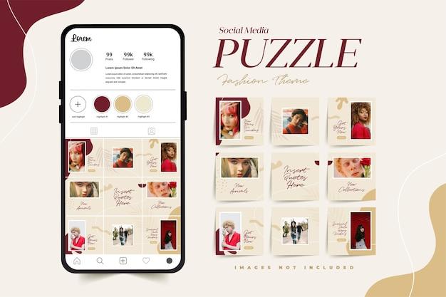 Modny szablon puzzli w mediach społecznościowych do reklamy kobiecych produktów modowych