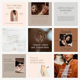Modny szablon wektora sprzedaży mediów społecznościowych z jesienno-zimową kolekcją promocyjną odzieży damskiej