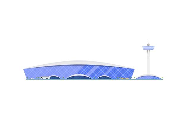 Modny terminal lotniska z wieżą kontroli lotów