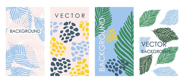 Modny tropikalny pozostawia zaproszenia i projekt szablonu karty. streszczenie wektor zestaw kwiatowy tła na banery, plakaty, szablony projektów okładek