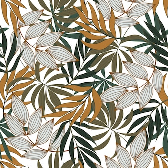 Modny tropikalny wzór z jasnymi białymi i żółtymi kwiatami