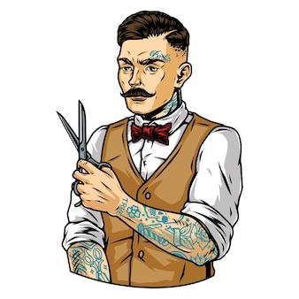 Modny wąsaty wytatuowany fryzjer z nożyczkami w stylu vintage na białym tle ilustracji wektorowych